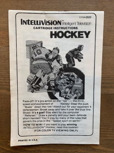 Hockey - Intellivision inc. Manual only